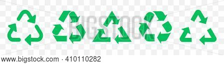 Set Of Green Recycle Arrows. Vector Illustration