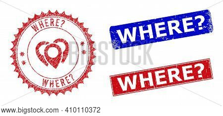 Rectangle And Round Where Question. Watermarks With Icon Inside. Blue And Red Scratched Watermarks W