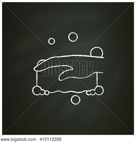 Sponge Foaming Chalk Icon. Wiping. Housekeeper Hand With Foamed Sponge Pictogram. Wet Cleaning. Hous
