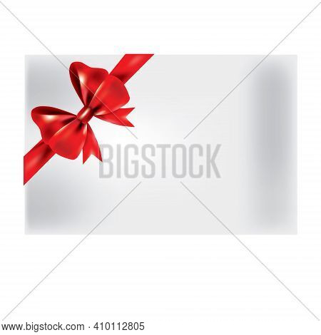 Gift Bow Ribbon Silk. Red Bow Tie Isolated On White Background. 3d Gift Bow Tie For Christmas Presen