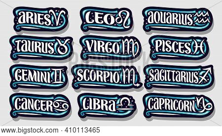 Vector Set Of Zodiac Signs, Collection Of 12 Cut Out Astrology Symbols With Illustrations Of Zodiac