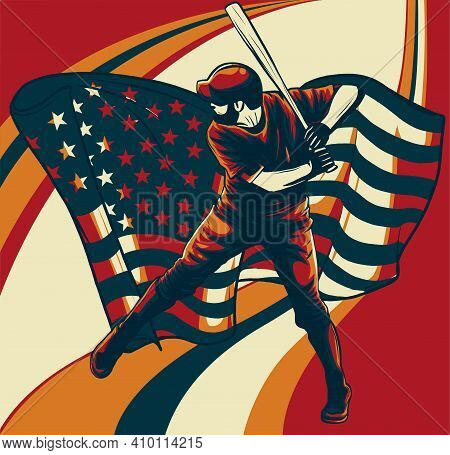 Baseball Player With American Flag Vector Illustration