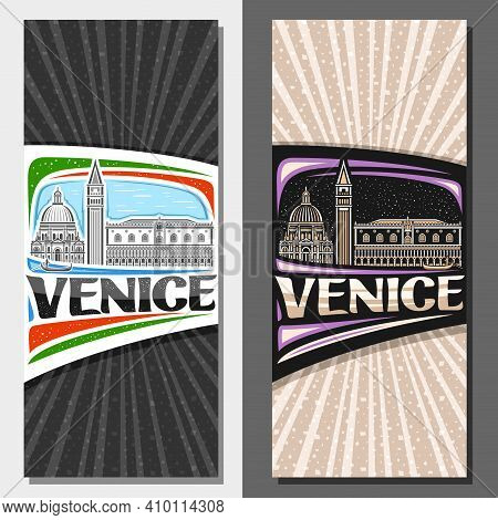 Vector Vertical Templates For Venice, Decorative Flyers With Illustration Of Historical Venice City