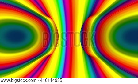 Multicolored Spiral Shape, Computer Generated. 3d Rendering Abstract Rainbow Hypnotic Animated Backg