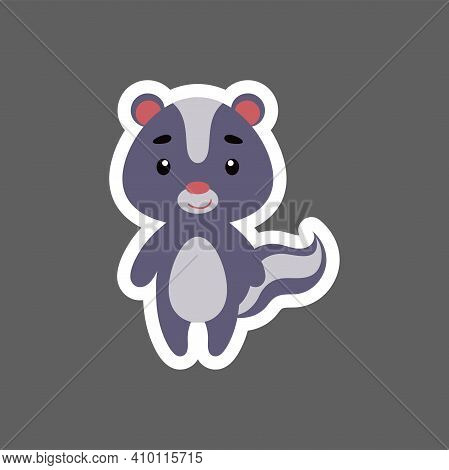 Cute Little Baby Skunk Sticker. Cartoon Animal Character For Kids Cards, Baby Shower, Birthday Invit