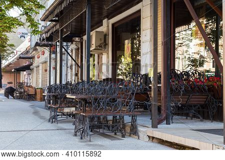 Saratov, Russia - 07.06.2020: Empty City Without People, Closed Cafe, Deserted Streets Lockdown Quar