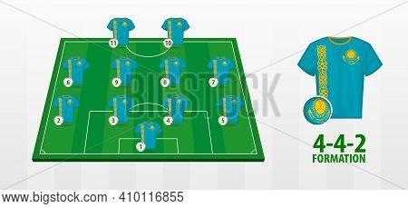 Kazakhstan National Football Team Formation On Football Field. Half Green Field With Soccer Jerseys