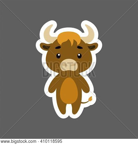 Cute Little Baby Musk-ox Sticker. Cartoon Animal Character For Kids Cards, Baby Shower, Birthday Inv