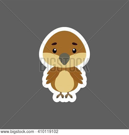 Cute Little Baby Sparrow Sticker. Cartoon Animal Character For Kids Cards, Baby Shower, Birthday Inv