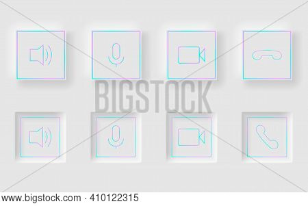 White Square Buttons In Neomorphism Design Style. Communication Buttons Set Modern Buttons. Vector