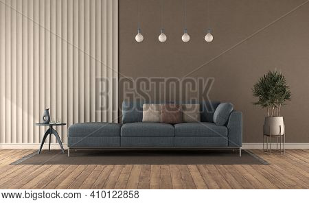 Blue Sofa In A Modern Living Room Against Gypsum Panel And Brown Wall - 3d Rendering