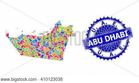 Abu Dhabi Emirate Map Vector Image. Spot Mosaic And Unclean Seal For Abu Dhabi Emirate Map. Sharp Ro