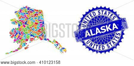 Alaska Map Abstraction. Splash Mosaic And Unclean Seal For Alaska Map. Sharp Rosette Blue Seal With