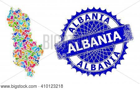 Albania Map Abstraction. Splash Pattern And Distress Stamp Seal For Albania Map. Sharp Rosette Blue