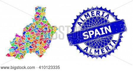 Almeria Province Map Flat Illustration. Spot Collage And Unclean Seal For Almeria Province Map. Shar