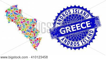 Andros Island Of Greece Map Vector Image. Spot Collage And Corroded Mark For Andros Island Of Greece
