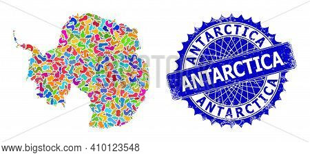 Antarctica Continent Map Vector Image. Splash Mosaic And Unclean Stamp For Antarctica Continent Map.