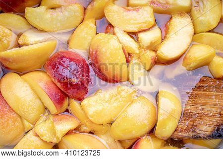 Peach Jam. Peaches With Sugar Syrup. Above. Looking Above. Fruit Background Backdrop.