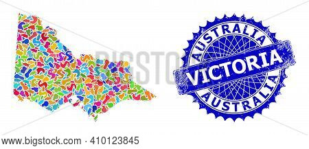 Australian Victoria Map Vector Image. Spot Collage And Scratched Badge For Australian Victoria Map.