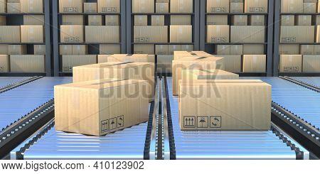 Cardboard Boxes On The Conveyor Belt. 3D Illustration