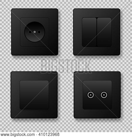 Sockets And Switches On A Transparent Background. Vector Illustration. Eps 10