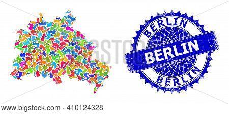 Berlin City Map Vector Image. Spot Pattern And Distress Stamp Seal For Berlin City Map. Sharp Rosett