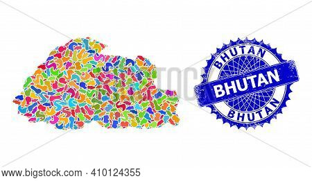 Bhutan Map Vector Image. Spot Collage And Scratched Badge For Bhutan Map. Sharp Rosette Blue Stamp W