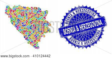 Bosnia And Herzegovina Map Vector Image. Splash Pattern And Scratched Stamp For Bosnia And Herzegovi