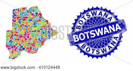 Botswana Map Vector Image. Blot Collage And Grunge Stamp For Botswana Map. Sharp Rosette Blue Stamp