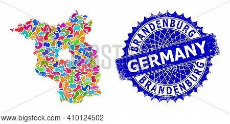 Brandenburg Land Map Flat Illustration. Spot Collage And Corroded Badge For Brandenburg Land Map. Sh