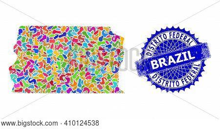 Brazil Distrito Federal Map Vector Image. Splash Collage And Rubber Badge For Brazil Distrito Federa