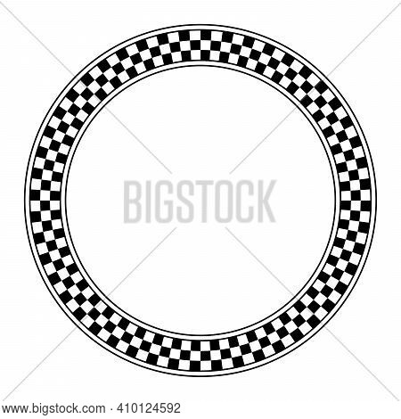 Circle Frame With Checkered Pattern. Round Border With Checkerboard Pattern, Made Of A Checkerboard