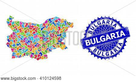 Bulgaria Map Vector Image. Blot Mosaic And Unclean Mark For Bulgaria Map. Sharp Rosette Blue Mark Wi