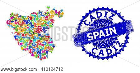 Cadiz Province Map Vector Image. Splash Collage And Rubber Seal For Cadiz Province Map. Sharp Rosett