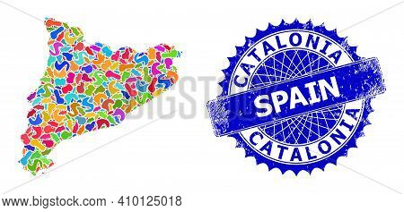 Catalonia Map Vector Image. Splash Collage And Distress Stamp Seal For Catalonia Map. Sharp Rosette