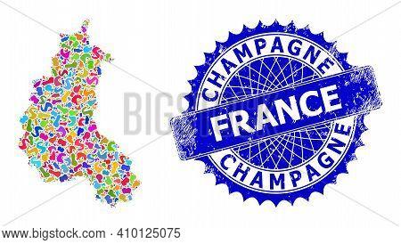 Champagne Province Map Template. Blot Mosaic And Unclean Badge For Champagne Province Map. Sharp Ros