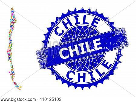 Chile Map Abstraction. Spot Pattern And Rubber Stamp Seal For Chile Map. Sharp Rosette Blue Stamp Se