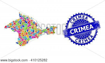 Crimea Map Vector Image. Blot Mosaic And Unclean Stamp Seal For Crimea Map. Sharp Rosette Blue Stamp