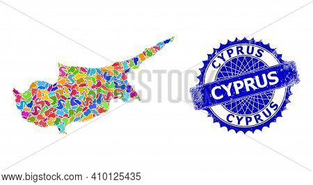 Cyprus Map Vector Image. Spot Mosaic And Distress Stamp For Cyprus Map. Sharp Rosette Blue Stamp Wit