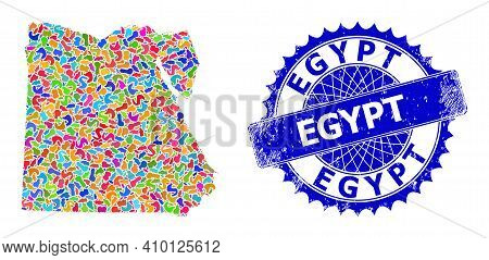 Egypt Map Vector Image. Spot Collage And Rubber Stamp For Egypt Map. Sharp Rosette Blue Seal With Ca