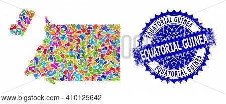 Equatorial Guinea Map Flat Illustration. Splash Mosaic And Grunge Stamp For Equatorial Guinea Map. S