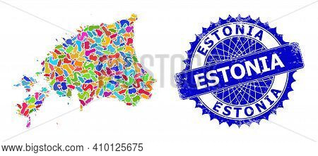 Estonia Map Flat Illustration. Spot Collage And Rubber Stamp For Estonia Map. Sharp Rosette Blue Sta