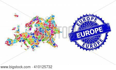 Europe Map Vector Image. Spot Collage And Scratched Seal For Europe Map. Sharp Rosette Blue Stamp Se