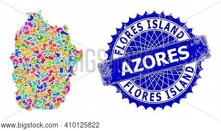 Flores Island Of Azores Map Flat Illustration. Blot Mosaic And Unclean Seal For Flores Island Of Azo