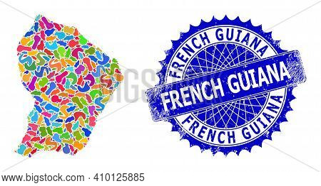French Guiana Map Vector Image. Blot Collage And Grunge Stamp Seal For French Guiana Map. Sharp Rose