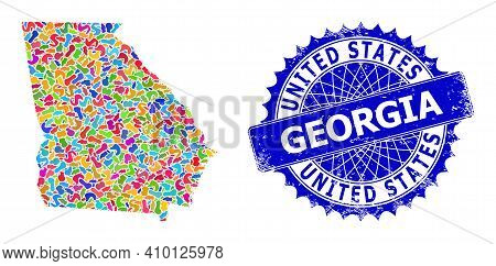 Georgia State Map Vector Image. Blot Mosaic And Scratched Stamp For Georgia State Map. Sharp Rosette