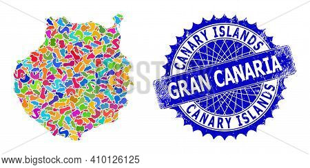Gran Canaria Map Vector Image. Spot Mosaic And Grunge Stamp For Gran Canaria Map. Sharp Rosette Blue