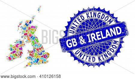 Great Britain And Ireland Map Template. Splash Collage And Unclean Stamp For Great Britain And Irela