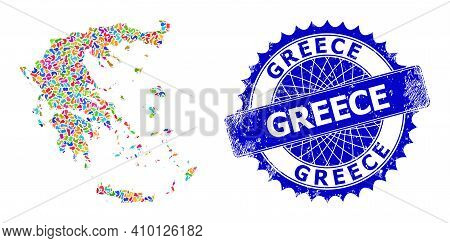 Greece Map Vector Image. Splash Collage And Scratched Stamp For Greece Map. Sharp Rosette Blue Badge