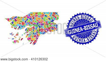 Guinea-bissau Map Abstraction. Splash Mosaic And Grunge Seal For Guinea-bissau Map. Sharp Rosette Bl